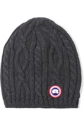 Canada Goose Cable Knit Merino Wool Beanie Anthracite