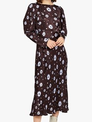 Ghost Rosaleen Flared Satin Floral Dress Brown Daisy