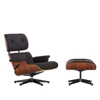 Limited Edition Tall Eames Lounge Chair And Ottoman Black Twill Fabric Santos Palisander Frame