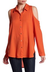 14Th And Union Long Sleeve Cold Shoulder Button Down Shirt Orange