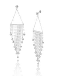 Lord And Taylor Bar Dangling Postback Earrings Silver