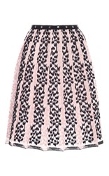 Giamba Embroidered Stripes Pleat Skirt Light Pink