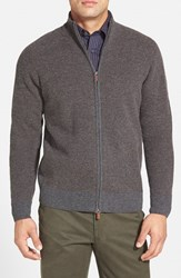 Men's Maker And Company Honeycomb Knit Wool And Cashmere Zip Cardigan Charcoal