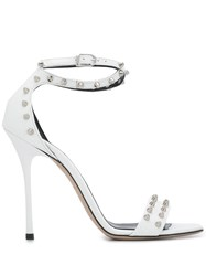 Marc Ellis Studded Stiletto Sandals White
