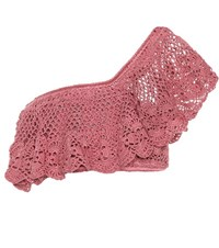 Anna Kosturova Filigree Crocheted Cotton Crop Top Pink