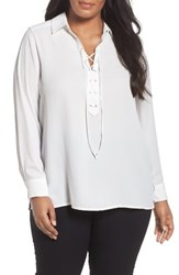 Foxcroft Plus Size Women's Lace Up Blouse White