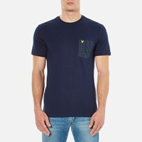 Lyle And Scott Men's Crew Neck Woven Check Pocket T Shirt Navy