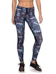 Roxy Stay On Technical Running Leggings Blue Multi