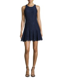 Joie Adisa Sleeveless Lace Fit And Flare Dress Navy Blue