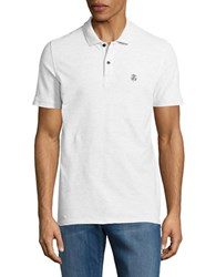 Selected Stretch Cotton Polo White Melange