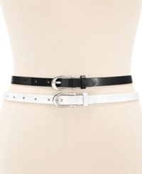 Style And Co. Patent 2 For 1 Belt Black White