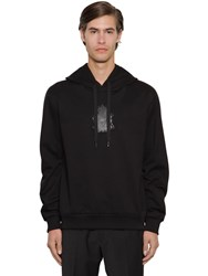 Dolce And Gabbana Cotton Terry Hoodie W Rubber Logo Black