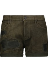 Rta Olivia Distressed Suede Shorts Army Green
