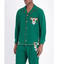 Gucci Embroidered Wool Pyjama Shirt Yard Live Red