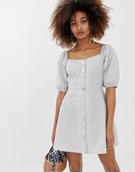 Neon Rose Button Front Tea Dress With Puff Sleeves In Gingham Grey