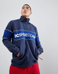 Dc Shoes Cut And Sew Half Zip Sweat In Blue Red