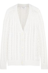 Equipment Suzy Open Knit Cashmere Alpaca And Wool Blend Cardigan White