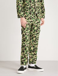 A Bathing Ape Camouflage Print Cotton Canvas Jogging Bottoms Green