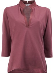 Lamberto Losani V Neck Cropped Sleeve Blouse Red