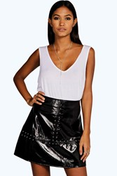 Boohoo Studded A Line Leather Look Mini Skirt Black