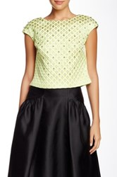 Phoebe By Kay Unger Embellished Jacquard Cap Sleeve Crop Top Green