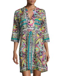 Etro Paisley Floral 3 4 Sleeve Tunic Coverup Multi