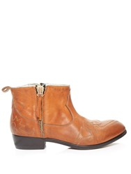 Golden Goose Zanja Double Zip Leather Ankle Boots Tan