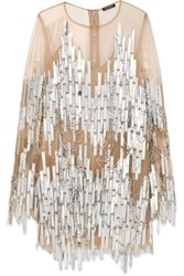 Balmain Embellished Tulle Mini Dress Silver