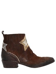 Elena Iachi 40Mm Stars Vintage Suede Cowboy Boots Brown Mult