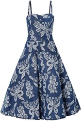 Junya Watanabe Convertible Denim Brocade Dress Blue