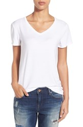 Women's Halogen Modal Jersey V Neck Tee White