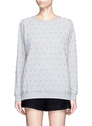 Giamba Beaded Raglan Sleeve Cotton Sweatshirt Grey
