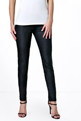 Boohoo Pull On Leather Look Jeggings Black