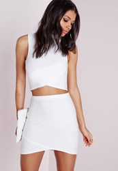 Missguided Bandage Asymmetric Hem Mini Skirt White