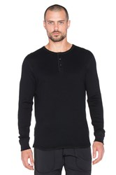 Reigning Champ Long Sleeve Thermal Henley Black