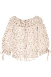 Paul And Joe Woman Ruffled Floral Print Silk Crepon Blouse Off White Off White