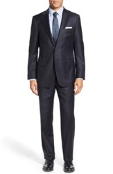 Men's Big And Tall Hickey Freeman 'Beacon B Series' Classic Fit Solid Wool Suit Navy