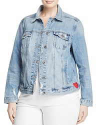 Lucky Brand Plus Embroidered Denim Jacket Constitution