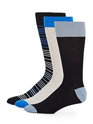 Saks Fifth Avenue Striped Cotton Blend Socks 3 Pack Black Multi