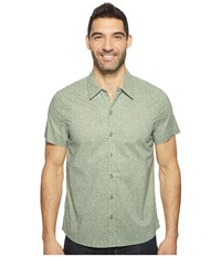 Kenneth Cole Short Sleeve Abstract Camp Shirt Highline Green Combo Men's Clothing White