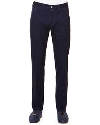 Stefano Ricci Flat Front Trousers With Croc Trim Navy Navy Blue