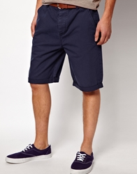 Asos Chino Shorts In Longer Length Navy