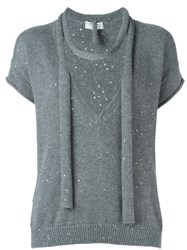 Brunello Cucinelli Sequin Embellished Knit Top Grey