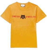 Gucci Printed Cotton Jersey T Shirt Yellow