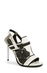 L.A.M.B. 'Voice' Leather T Strap Sandal Women White Grey