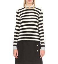Gucci Striped Cashmere And Wool Blend Jumper Blk Wht Gold