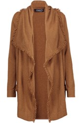 Magaschoni Fringed Draped Cashmere Cardigan Tan