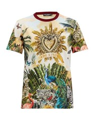 Dolce And Gabbana Tropical Print Cotton T Shirt Multi