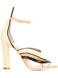 Paula Cademartori Fringe High Heel Sandals Nude And Neutrals