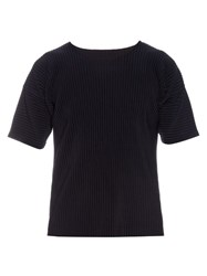 Homme Plisse Pleated T Shirt Navy